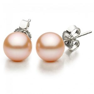 10-11mm Freshwater Pink Pearl Stud Earrings