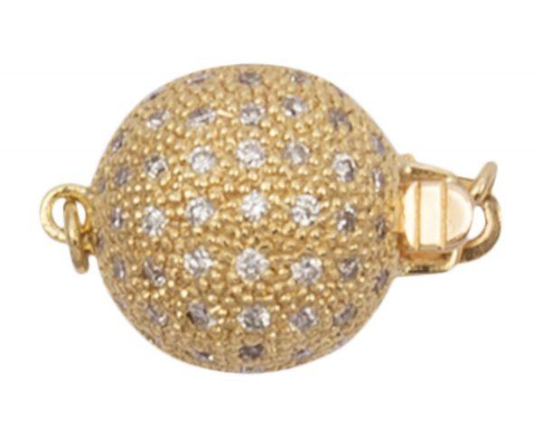 11 mm Diamond Ball Pearl Bracelet Clasp
