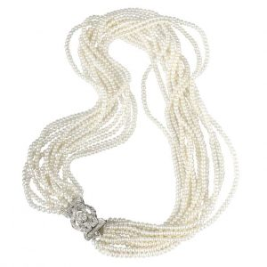 12 Strand Antique Diamond Pearl Necklace