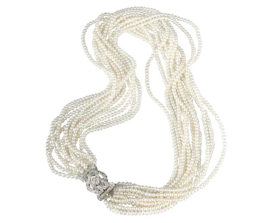 Antique Diamond Pearl Necklace