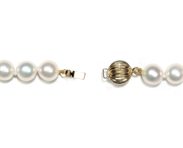 6mm Ridged Golden Ball Pearl Necklace Clasp