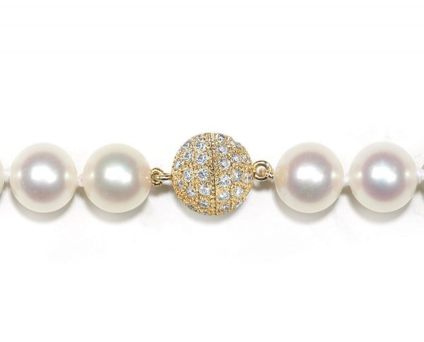 7mm Diamond Ball Pearl Necklace Clasp