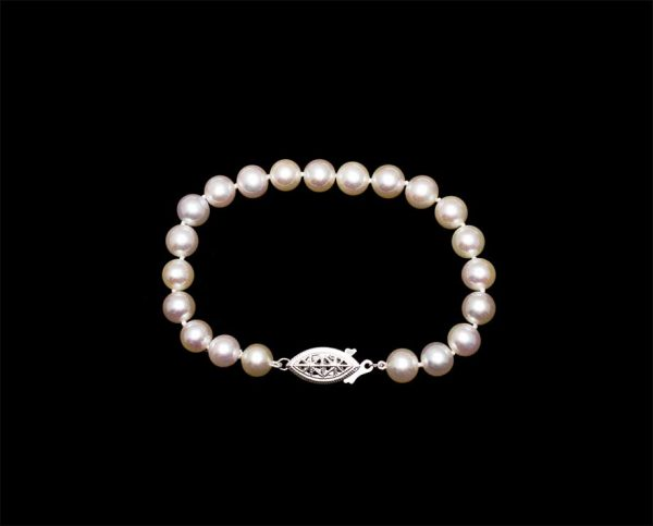8mm Freshwater Pearl Bracelet with Silver Clasp