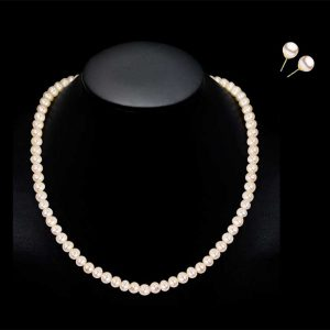 8mm Pearl Necklace and Earring Bridal Set