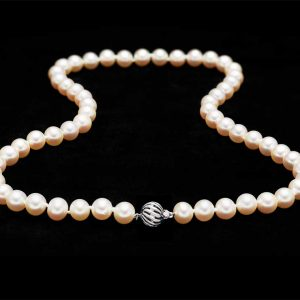 9mm Pearl Necklace with Golden Ball Of Wire Clasp