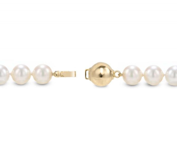 9mm Solid Golden Ball Pearl Necklace Clasp