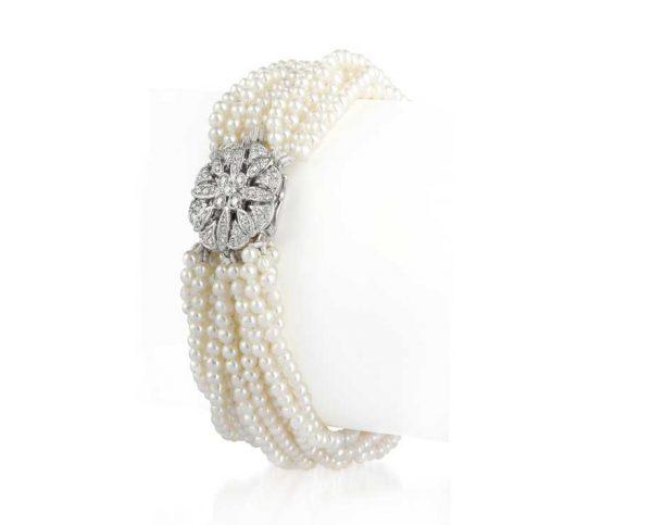 Antique Diamond 12 Strand Pearl Bracelet