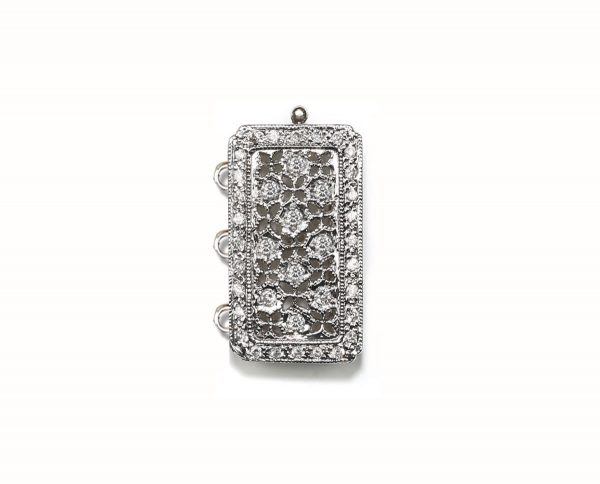 Antique Diamond Necklace Pearl Clasp