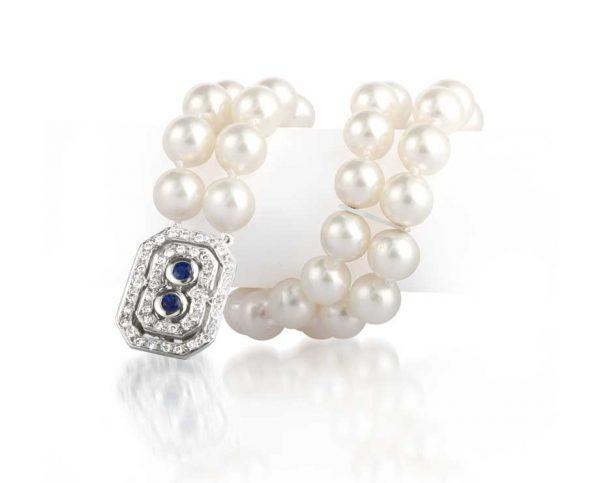 Boxed Gemstone Double Strand Pearl Bracelet