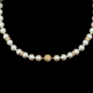 Diamond Ball Pearl Necklace