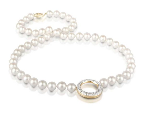 Diamond O Pearl Necklace