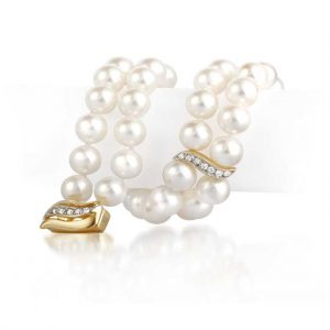 Diamond S Double Akoya Pearl Bracelet