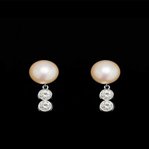 Double Diamond Pearl Earrings
