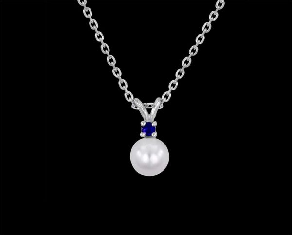 Sapphire and Pearl Pendant (Silver)