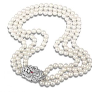 Gem Buckle Multiple Strand Pearl Necklace