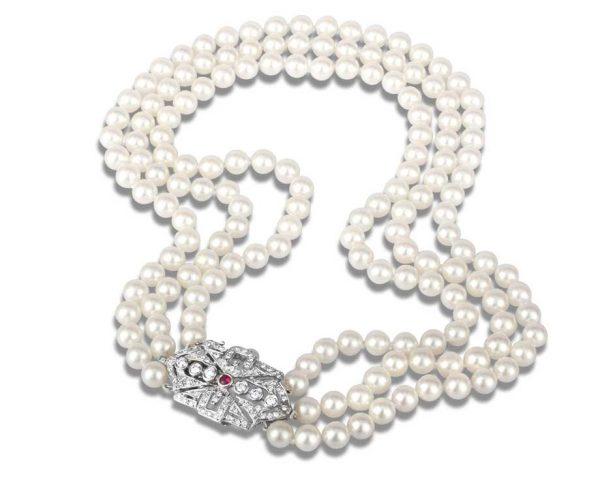 Gem Buckle Multiple Strand Pearl Necklace