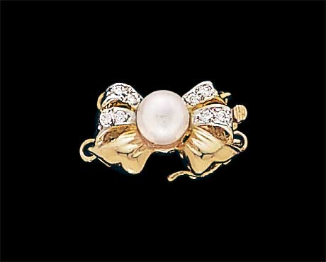 Golden Diamond Bow Pearl Necklace Clasp