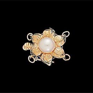 Golden Petal Pearl Bracelet Clasp