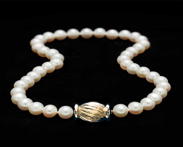 Freshwater Pearls with Golden Barrel Clasp (AAA Quality)