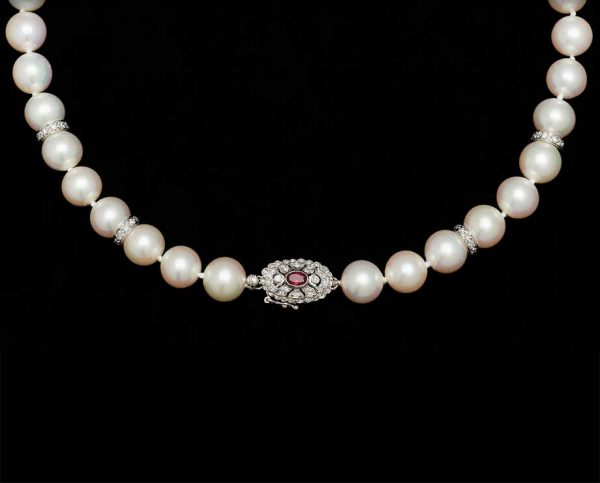 Ruby Pearl Necklace, With 4 X 7mm Rondels