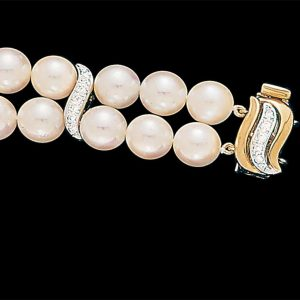 Small Diamond S Pearl Bracelet