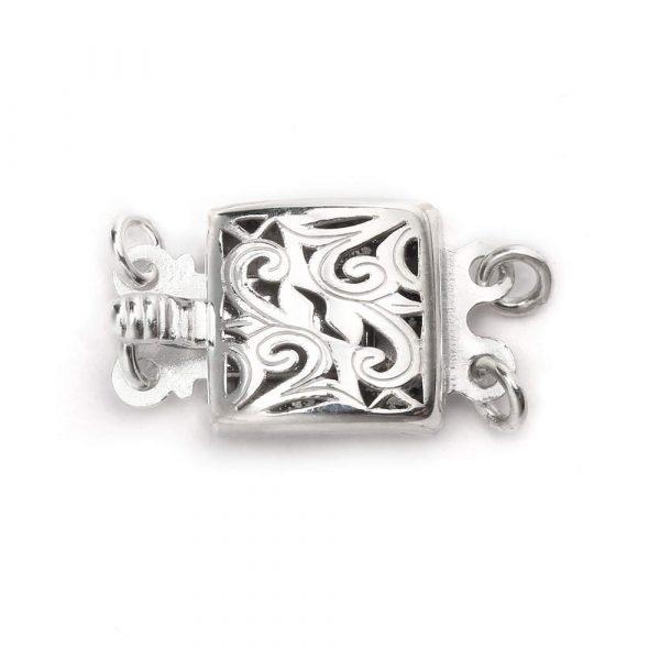 silver double strand swirl box clasp