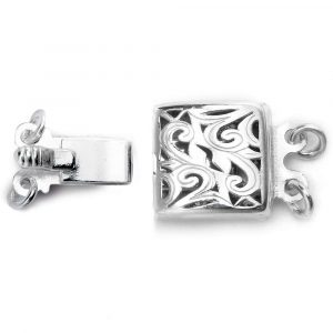 Sterling Silver double strand swirl box clasp