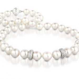 White Diamond Shine Pearl Necklace