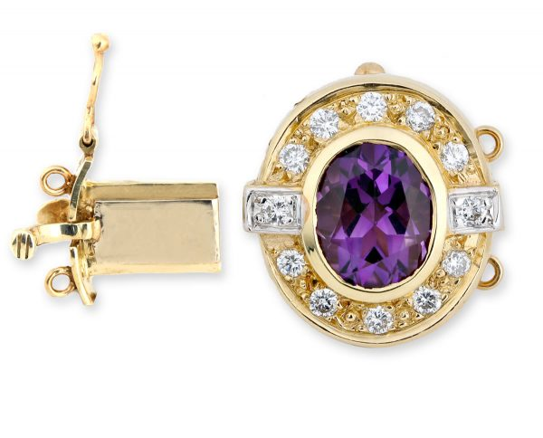 Amethyst and Diamond Pearl Clasp