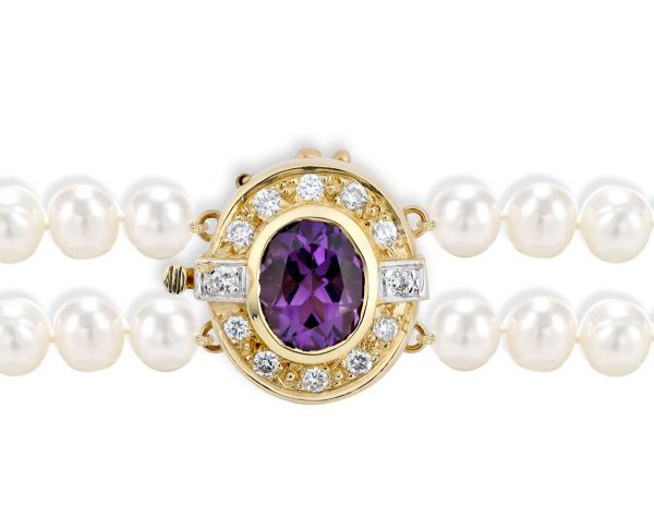 Amethyst and Diamond Bracelet Pearl Clasp