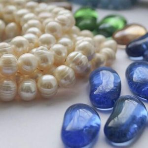colored beads and pearls