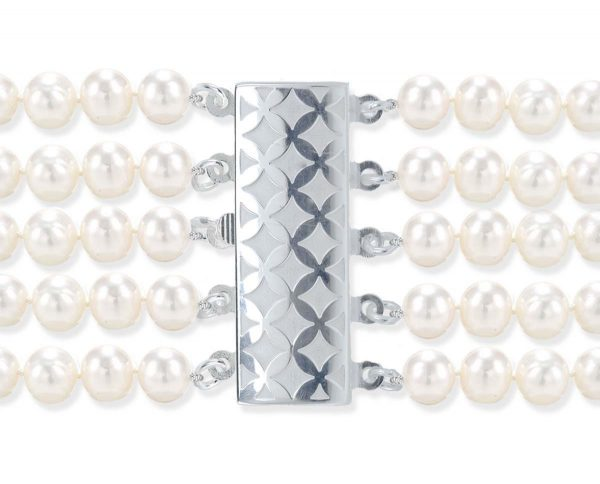 Checked 5 Strand Bracelet Pearl Clasp