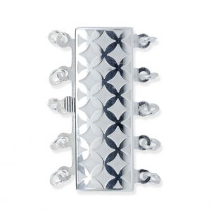 Checked 5 Strand Necklace Pearl Clasp