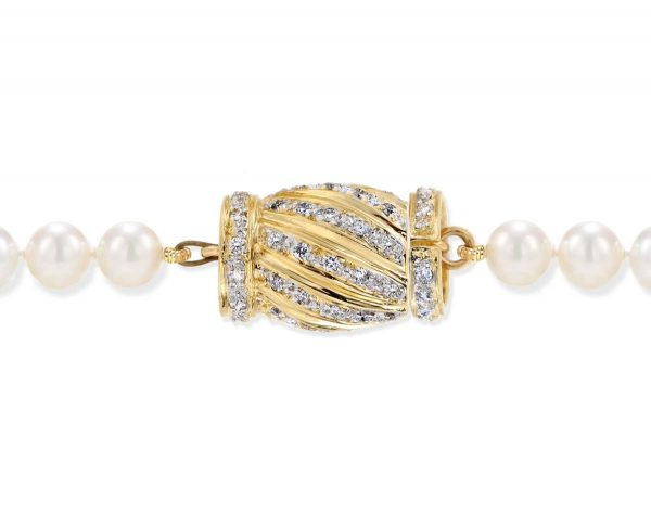 Diamond Candy Stripe Clasp for Pearl Necklace