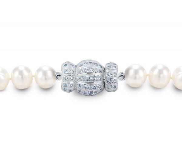 Diamond Striped Small Ball Pearl Bracelet Clasp
