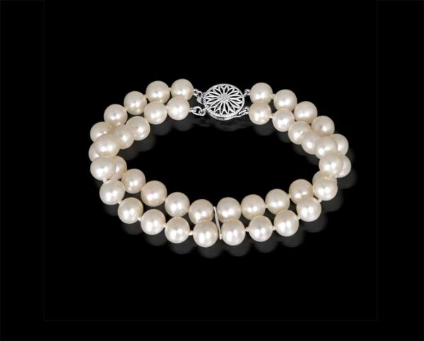 Double Strand 7mm Pearl Bracelet