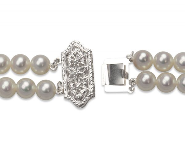 Filigree Clasp for Double Strand Pearl Bracelet