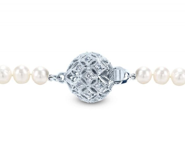 Large Filigree Diamond Ball Clasp for Bracelet