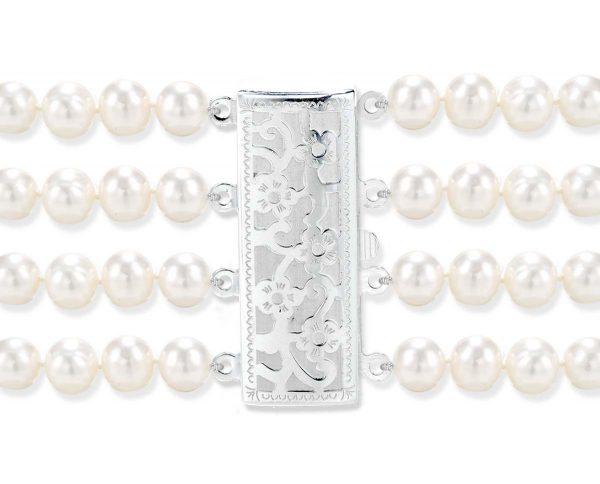 Flower 4 Strand Bracelet Pearl Clasp