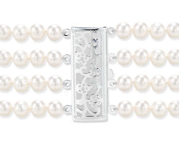 Flower 4 Strand Pearl Clasp