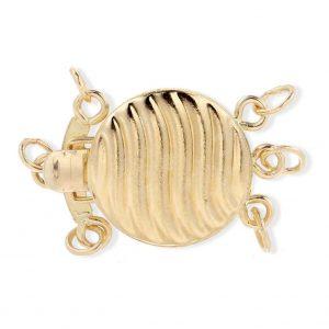 Triple Strand Golden Shell Pearl Bracelet Clasp