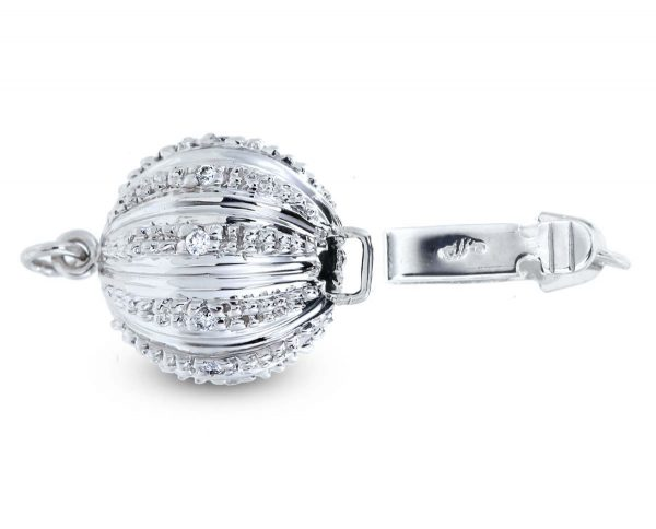 Large Lightweight Diamond Ball Clasp for Bracelet