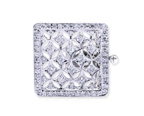 Large Multiple Diamonds Clasp for Pearl Bracelet