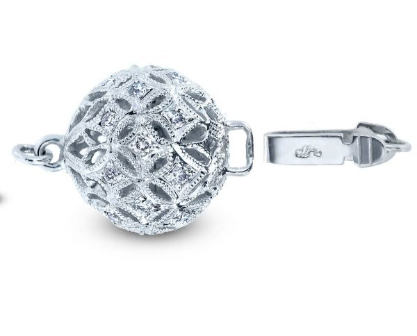 Medium Filigree Diamond Ball Clasp for Necklace