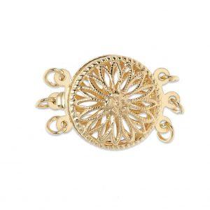 Triple Strand Round Filigree Pearl Bracelet Clasp