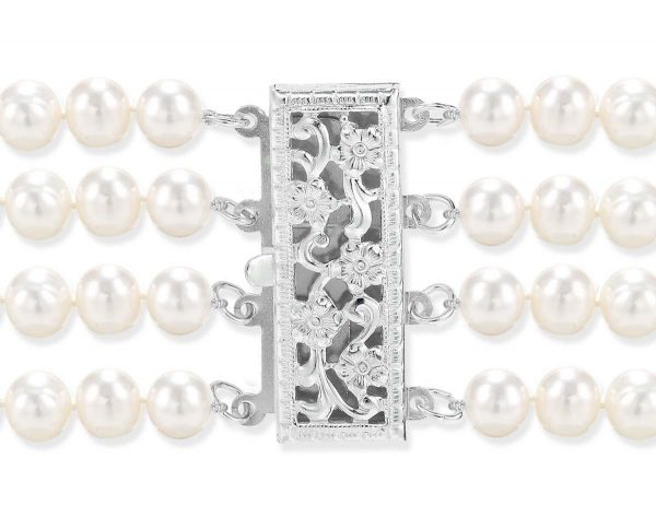 Silver Pearl Clasp for 4 Strands