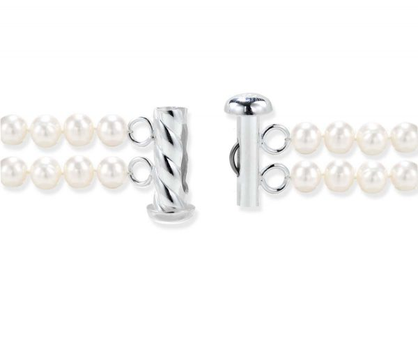 Silver Spiral Rod Clasp for Double Strand
