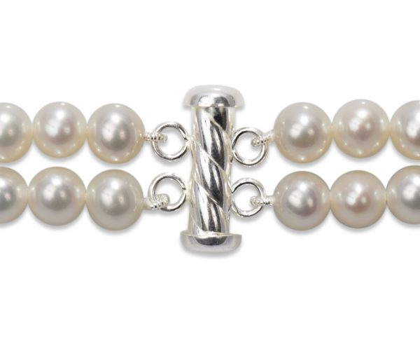 Silver Spiral Rod Clasp for Double Strand Bracelet