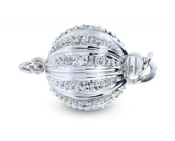 Large Lightweight Diamond Ball Necklace Clasp