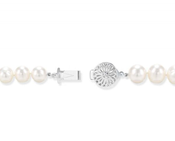 Sterling Silver Flower Clasp for Pearl Bracelet